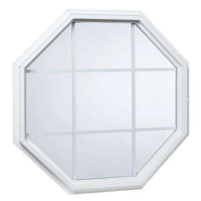 35.5 in. x 35.5 in. 25000 Series Geometric Vinyl Window with Grid White