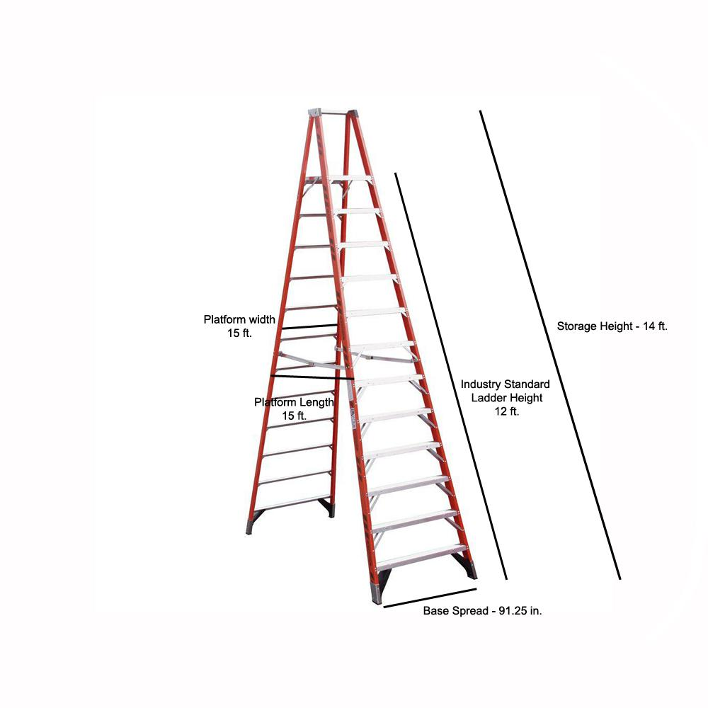 Werner 18 Ft Reach Fiberglass Platform Step Ladder With 300 Lb Load Capacity Type Ia Duty Rating P7412 The Home Depot