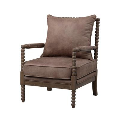 Tatum Light Taupe and Bomber Brown Accent Chair