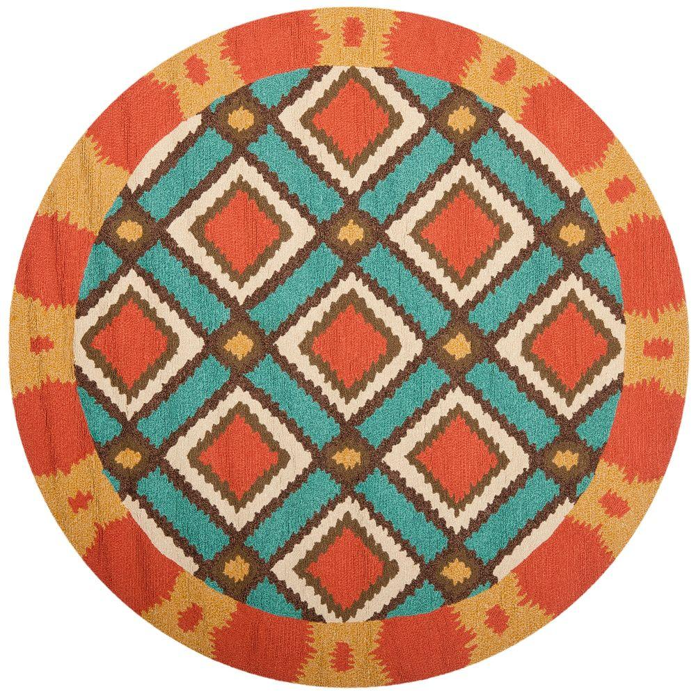 Safavieh Four Seasons Light Blue/Red 6 ft. x 6 ft. Round Indoor/Outdoor Area Rug