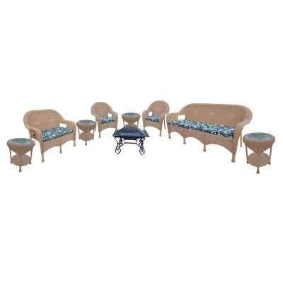 9-Piece Wicker Seating Set 33 in. Square Fire Pit 4 Side Tables Cushioned Sofa Cushioned Loveseat 2 Cushioned Chairs