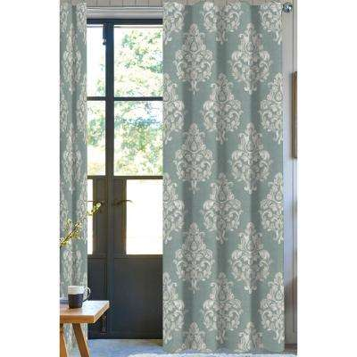 Damask Light Filtering Drapery Panel in Mint Green - 50 in. x 108 in.
