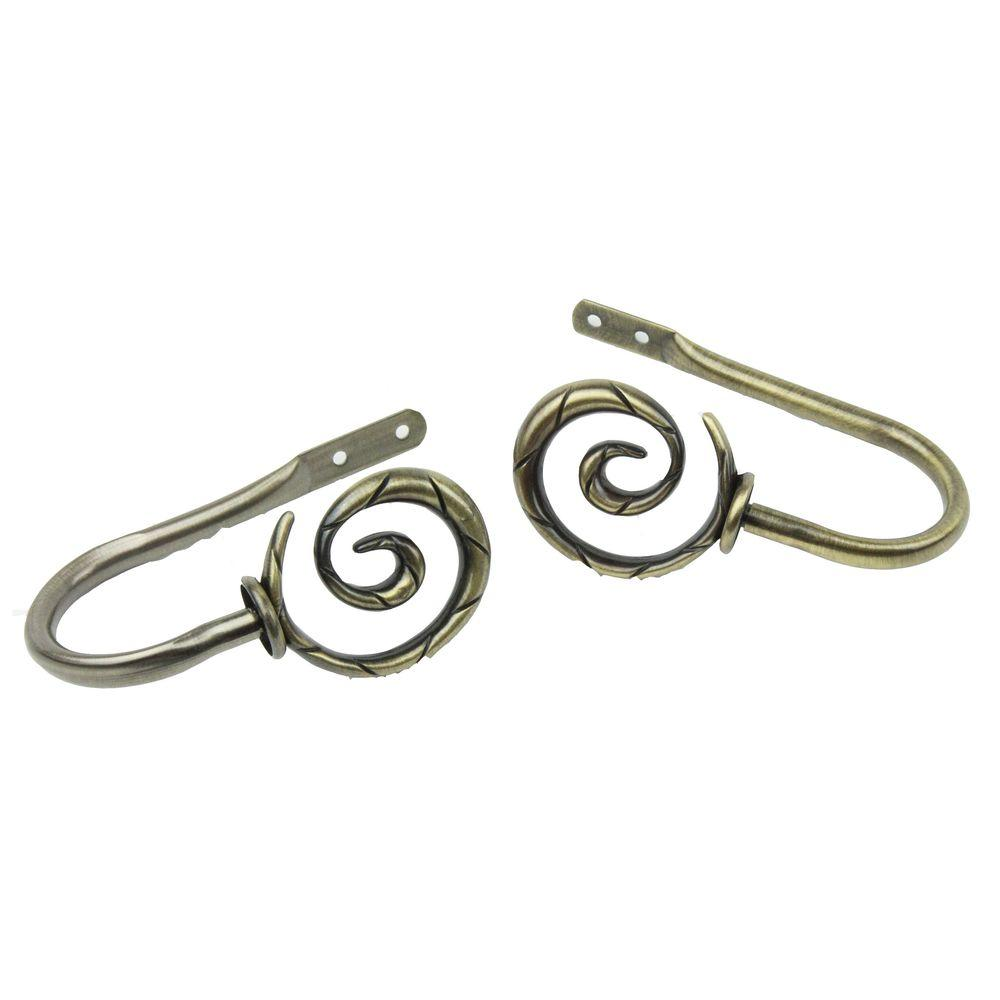 Spiral Decorative Holdback Pair in Antique Brass