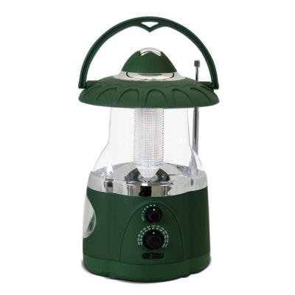 12-LED Green Battery Operated Multifunction Radio Lantern (2-Pack)