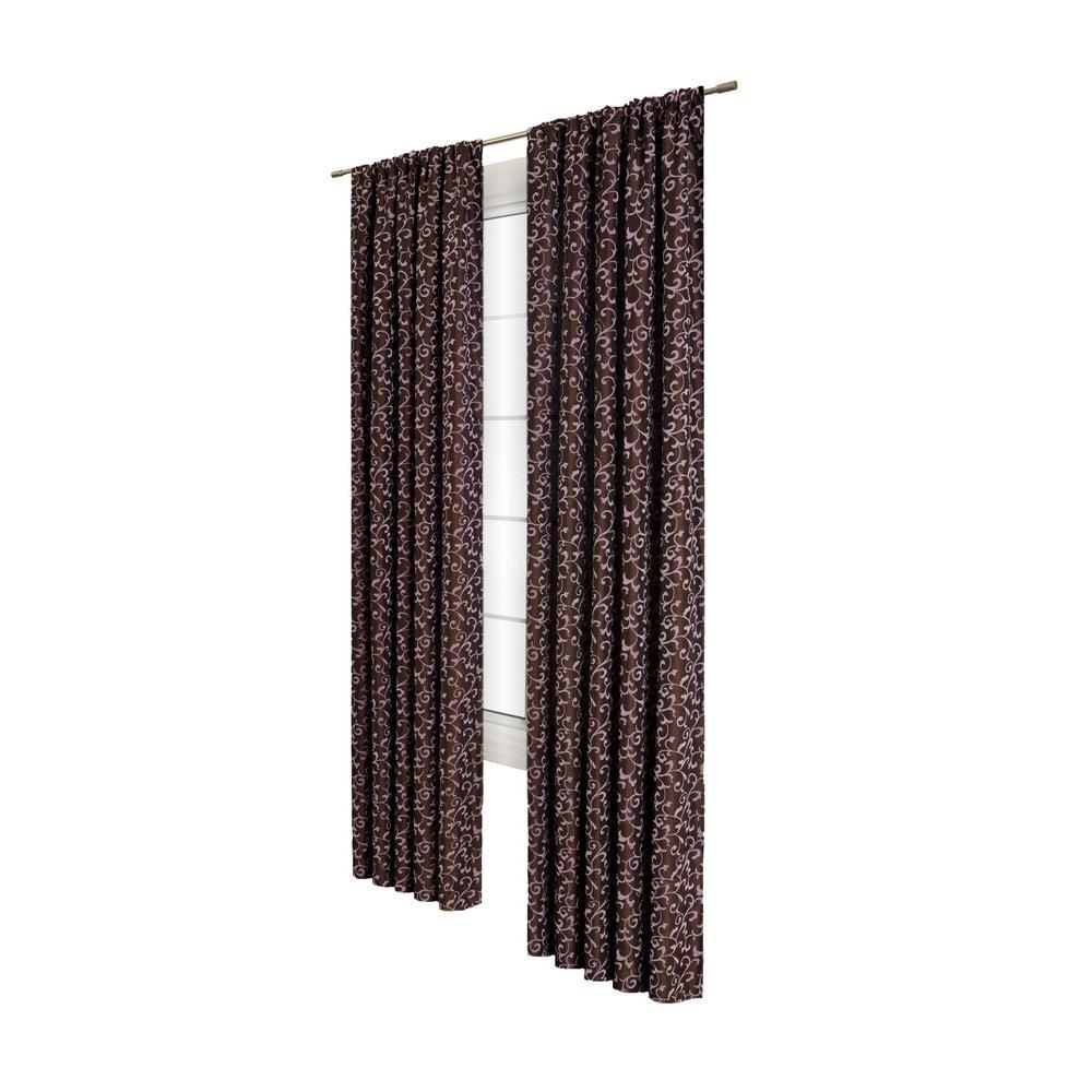 Home Decorators Collection Sheer Delano Scroll Chocolate/Pink Rod Pocket Curtain
