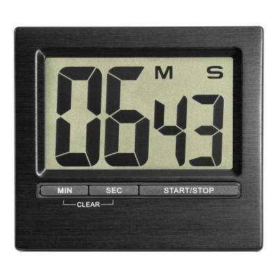 3 in. Square Digital Black Countdown Timer and Stopwatch