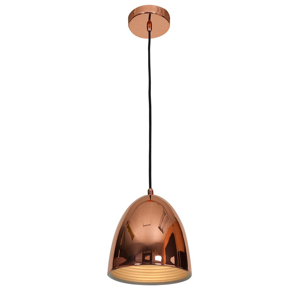 Access Lighting Essence 8 in. 1-Light Shiny Copper Pendant with Shiny Copper Aluminum Shade