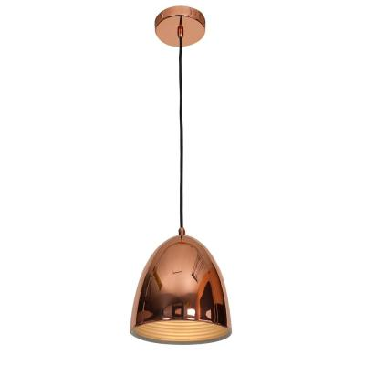 Essence 8 in. 1-Light Shiny Copper Pendant with Shiny Copper Aluminum Shade