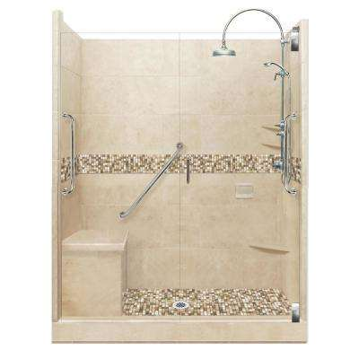 Roma Freedom Luxe Hinged 42 in. x 60 in. x 80 in. Center Drain Alcove Shower Kit in Brown Sugar and Chrome Hardware