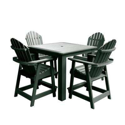 Hamilton Charleston Green 5-Piece Recycled Plastic Square Outdoor Balcony Height Dining Set