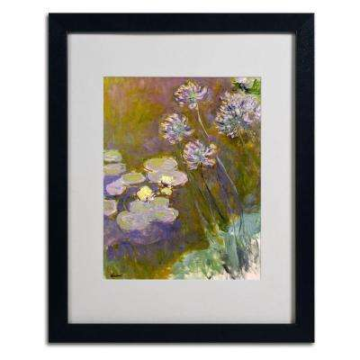 16 in. x 20 in. Waterlilies and Agapanthus Matted Black Framed Wall Art