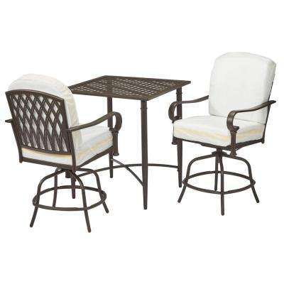 Oak Cliff 3-Piece Brown Steel Outdoor Patio Balcony Height Bistro Set with Bare Cushions
