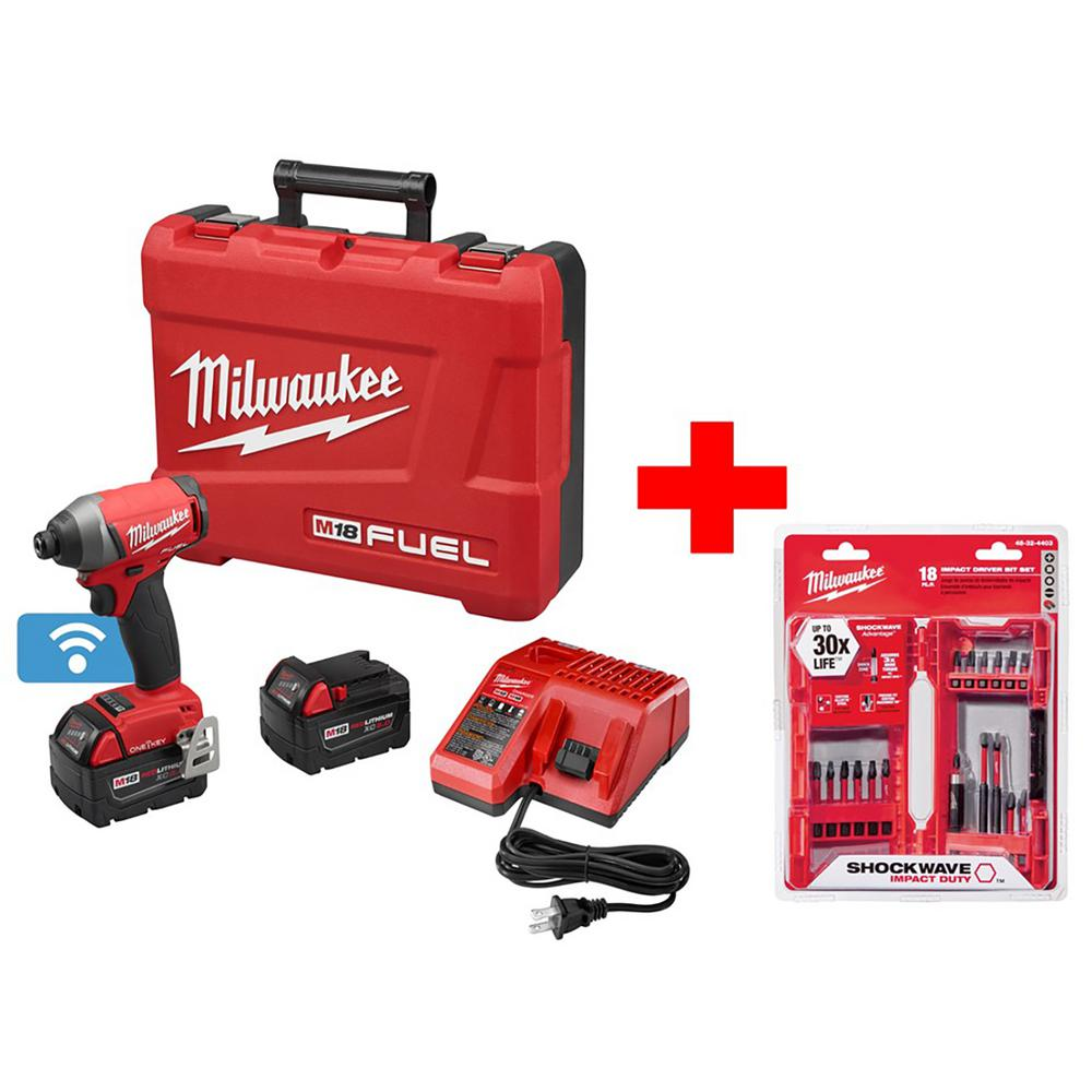 Milwaukee M18 FUEL ONE-KEY 18-Volt Lithium-Ion Brushless Cordless 1/4 in. Hex Impact Driver Kit With Shockwave Bit Set (18-Piece)