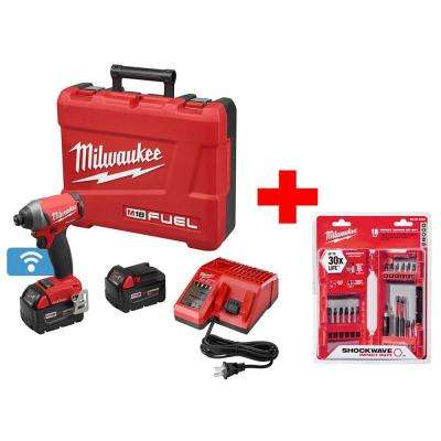 M18 FUEL 1-Key 18-Volt Lithium-Ion Brushless 1/4 in. Cordless Hex Impact Driver Kit With Shockwave Bit Set (18-Piece)