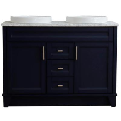 49 in. W x 22 in. D Double Bath Vanity in Blue with Marble Vanity Top in White Carrara with White Round Basins
