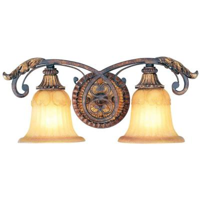 Providence 2-Light Verona Bronze Incandescent Bath Vanity Light with Aged Gold Leaf Accents