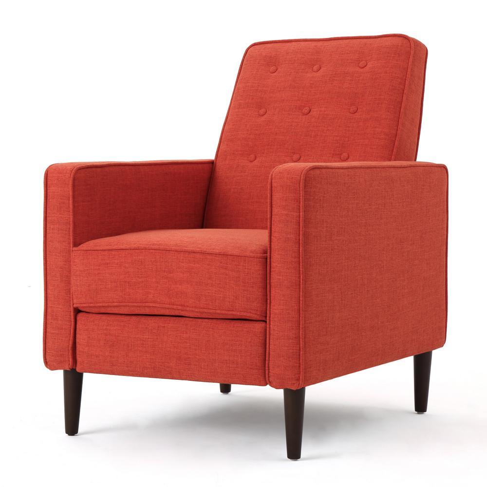 Deborah Muted Orange Fabric Mid Century Modern Recliner