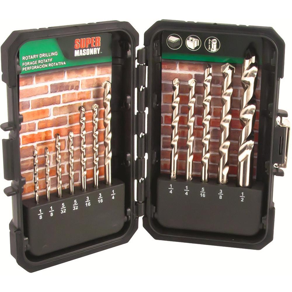 MIBRO 895080 Super Masonry Slow Spiral Rotary Drill Bit Set 12 Pieces