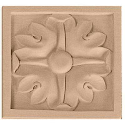 5-1/8 in. x 7/8 in. x 5-1/8 in. Unfinished Wood Cherry Large Edinburgh Rosette
