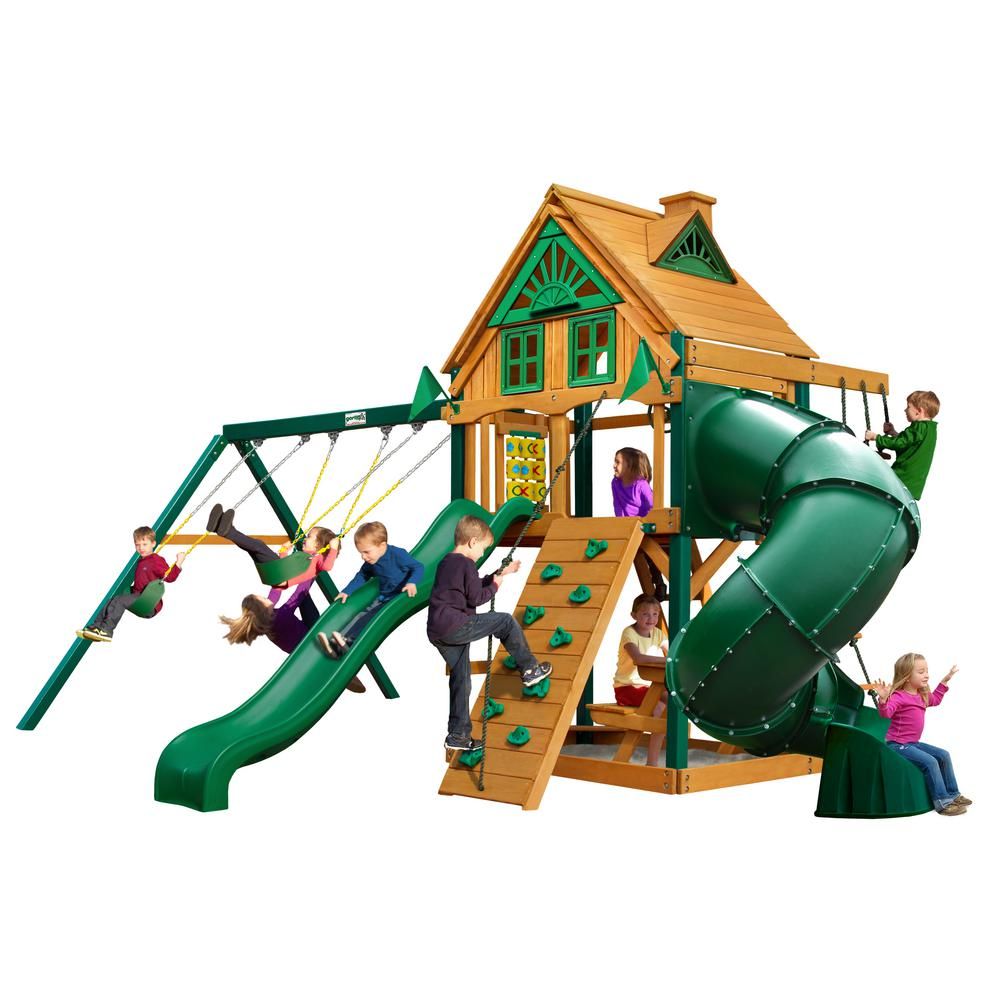 Gorilla playsets mountaineer treehouse swing set with for Gorilla playsets
