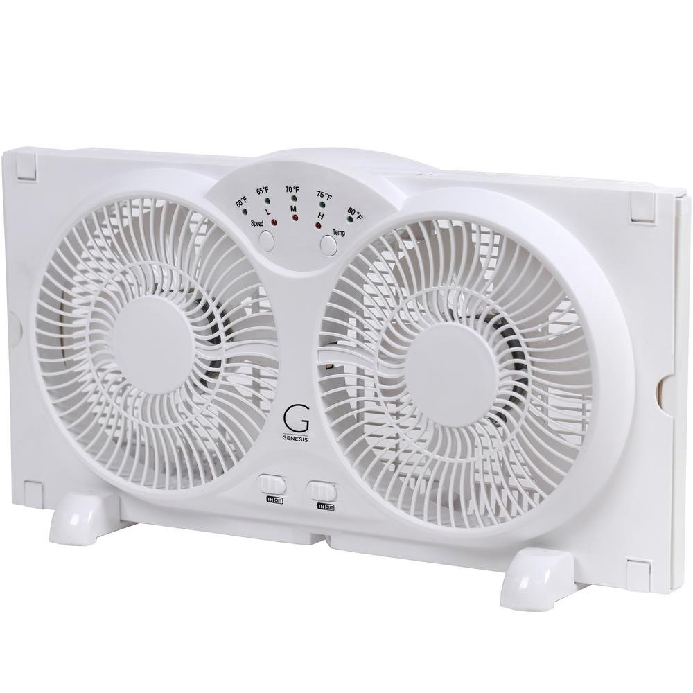 Genesis Twin Window Fan with 9 in  Blades Adjustable Thermostat and Max  Cool Technology ETL Certified