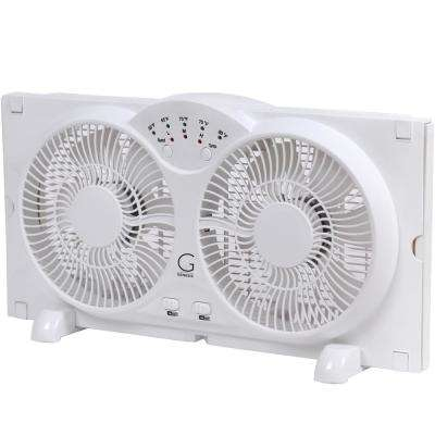 Twin Window Fan with 9 in. Blades Adjustable Thermostat and Max Cool Technology ETL Certified