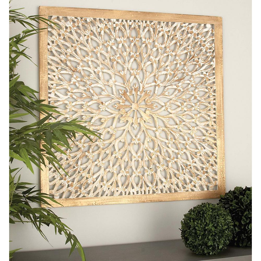 36 in. x 36 in. Rustic Decorative Carved Floral-Patterned Wooden ...
