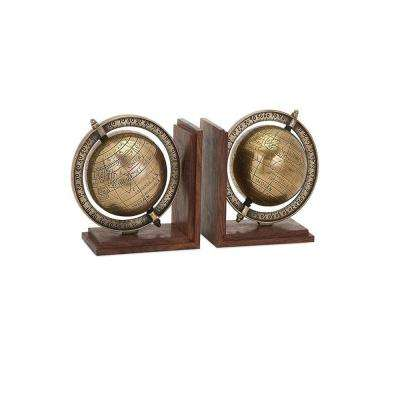 7.5 in. x 7.5 in. Gold and Natural Globe Bookends (2-Piece)