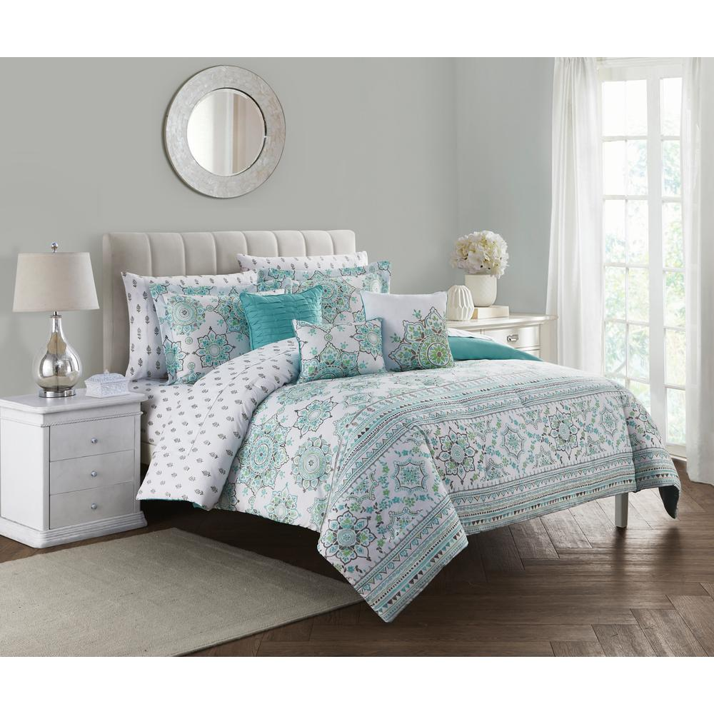 Clarissa 10 Piece Blue And Green King Bed In A Bag Set