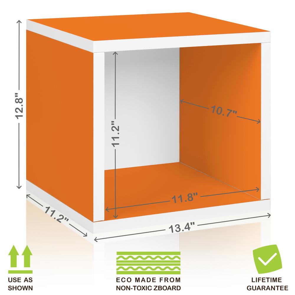 Way Basics Eco Stackable zBoard 11.2 x 13.4 x 12.8 Tool-Free Assembly Storage Cube Unit Organizer in Orange