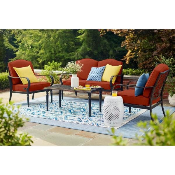 Laurel Oaks 4-Piece Brown Steel Outdoor Patio Conversation Seating Set with CushionGuard Quarry Red Cushions