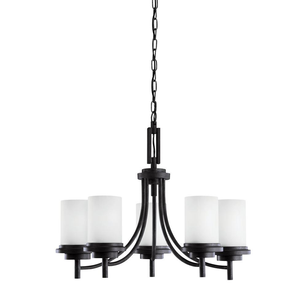 Sea Gull Lighting Winnetka 5-Light Blacksmith Chandelier with LED Bulbs