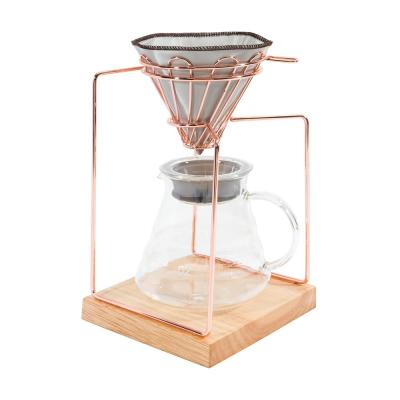 20oz. Stainless Steel Rose Gold Pour Over Dripper Coffee Maker