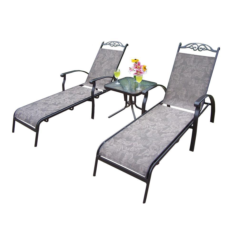 Cascade Coffee 3-Piece Aluminum Outdoor Sling Chaise Lounge Set