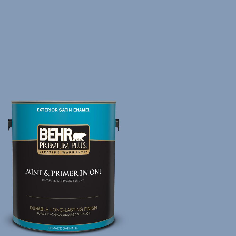 BEHR Premium Plus 1 gal. #MQ5-51 Mystery Satin Enamel Exterior Paint and Primer in One