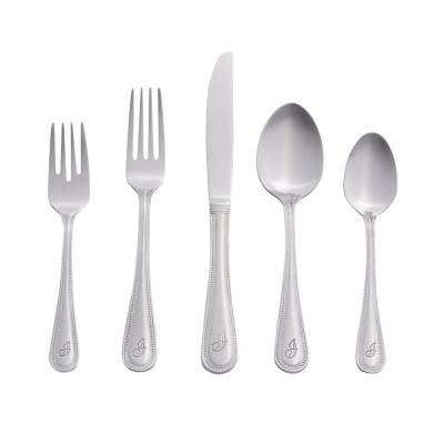 Beaded Monogrammed Letter I 46-Piece Silver Stainless Steel Flatware Set