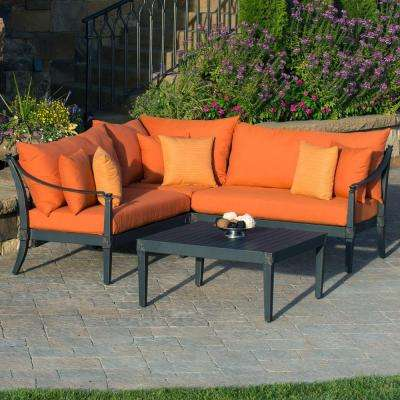 Astoria 4-Piece Patio ... & 4-5 Person - Orange - Fade resistant - Outdoor Lounge Furniture ...