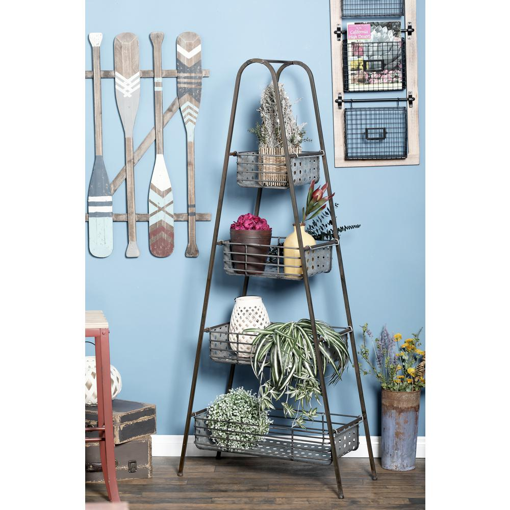 Litton Lane Black Iron 4-Tier Ladder Shelf-94670 - The Home Depot