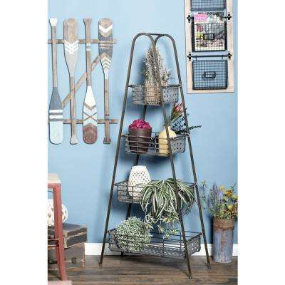 Black Iron 4-Tier Ladder Shelf