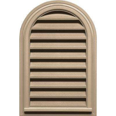 22 in. x 32 in. Round Top Gable Vent in Tan