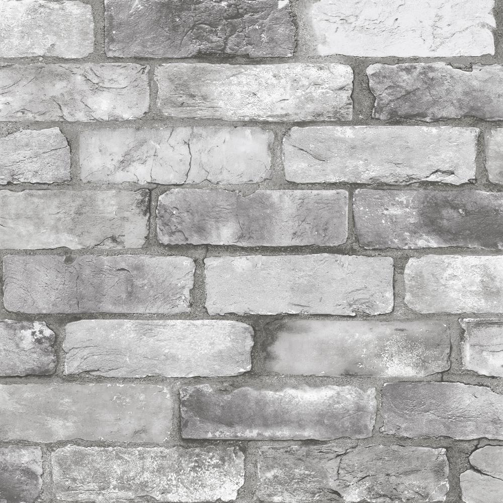 Rustin Grey Reclaimed Bricks Grey Wallpaper Sample
