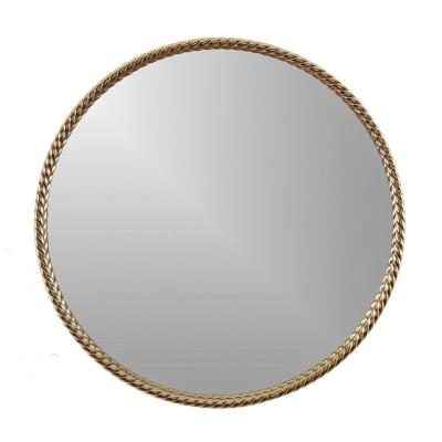 Archie 24 in. x 24 in. Modern Round Framed Gold Wall Hanging Accent Mirror