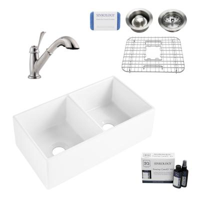 Brooks II All-in-One Farmhouse/Apron Fireclay 33 in. 50/50 Double Bowl Kitchen Sink with Pfister Bixby Faucet and Drains