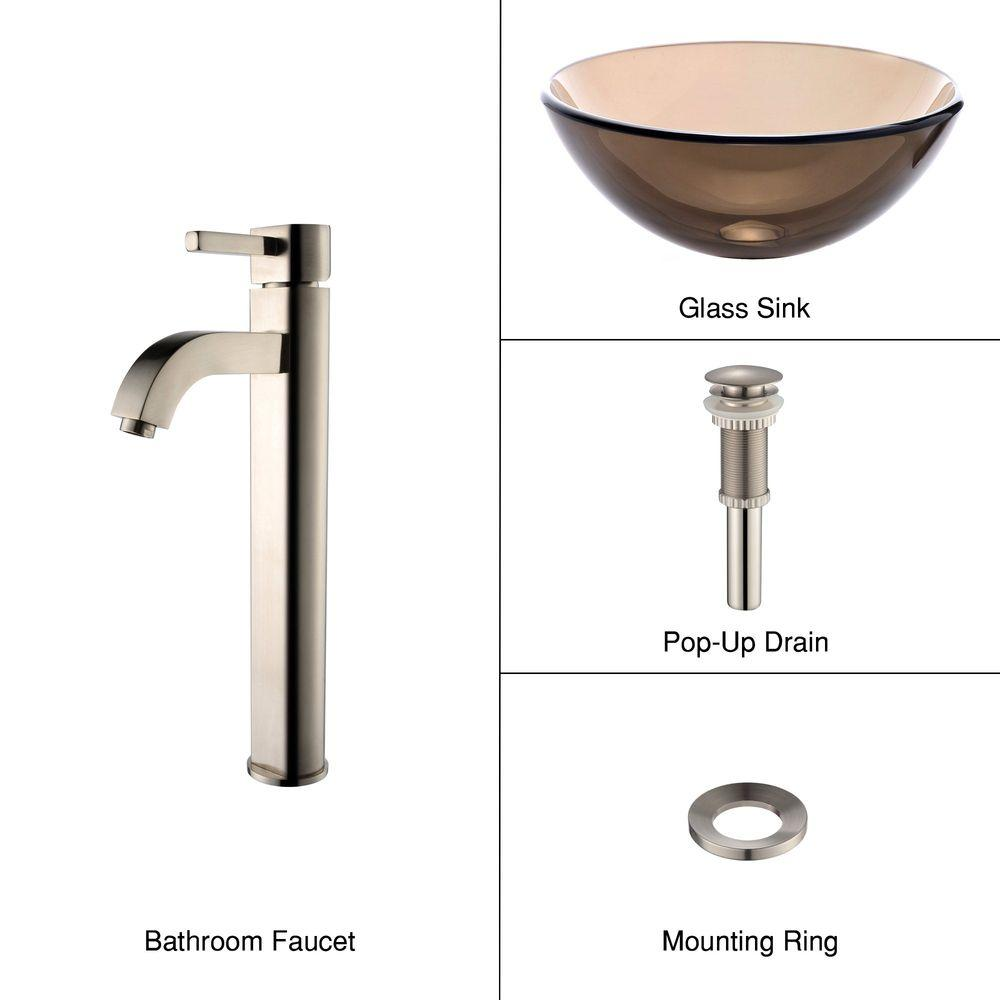KRAUS Glass Vessel Sink in Brown with Single Hole Single-Handle High-Arc Ramus Faucet in Satin Nickel