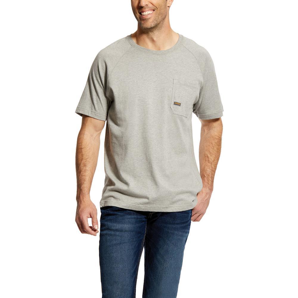 288fdc44cc3a Ariat Men's Size Large Tall Heather Grey Rebar Cottonstrong Short Sleeve  Work T-Shirt