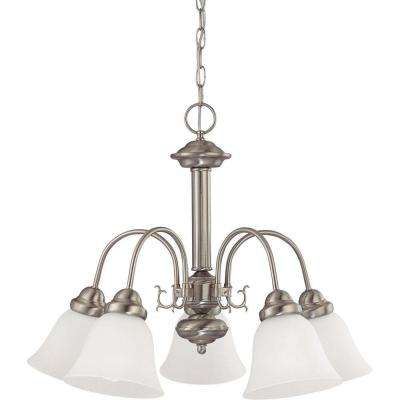 5-Light Brushed Nickel Chandelier with Frosted White Glass Shade