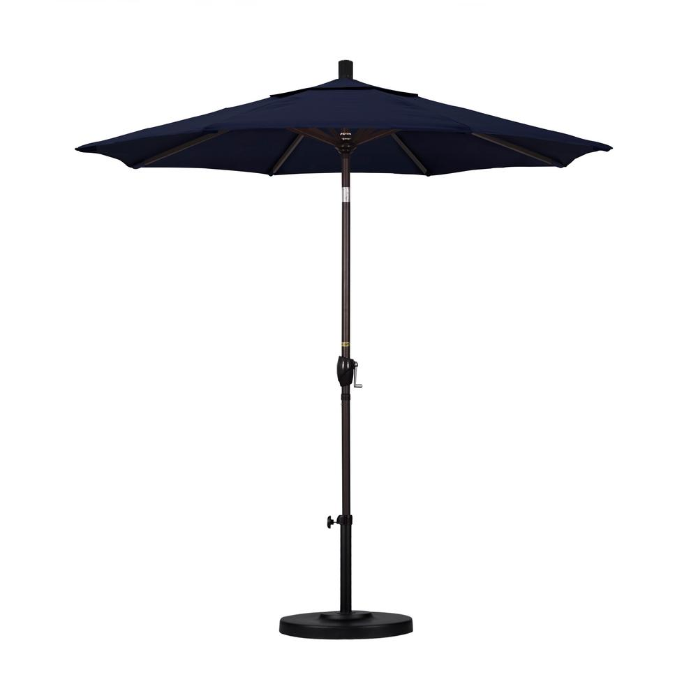 7-1/2 ft. Fiberglass Push Tilt Patio Umbrella in Navy Blue Olefin