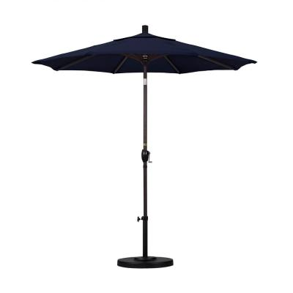 7-1/2 ft. Aluminum Push Tilt Patio Market Umbrella in Navy Blue Olefin