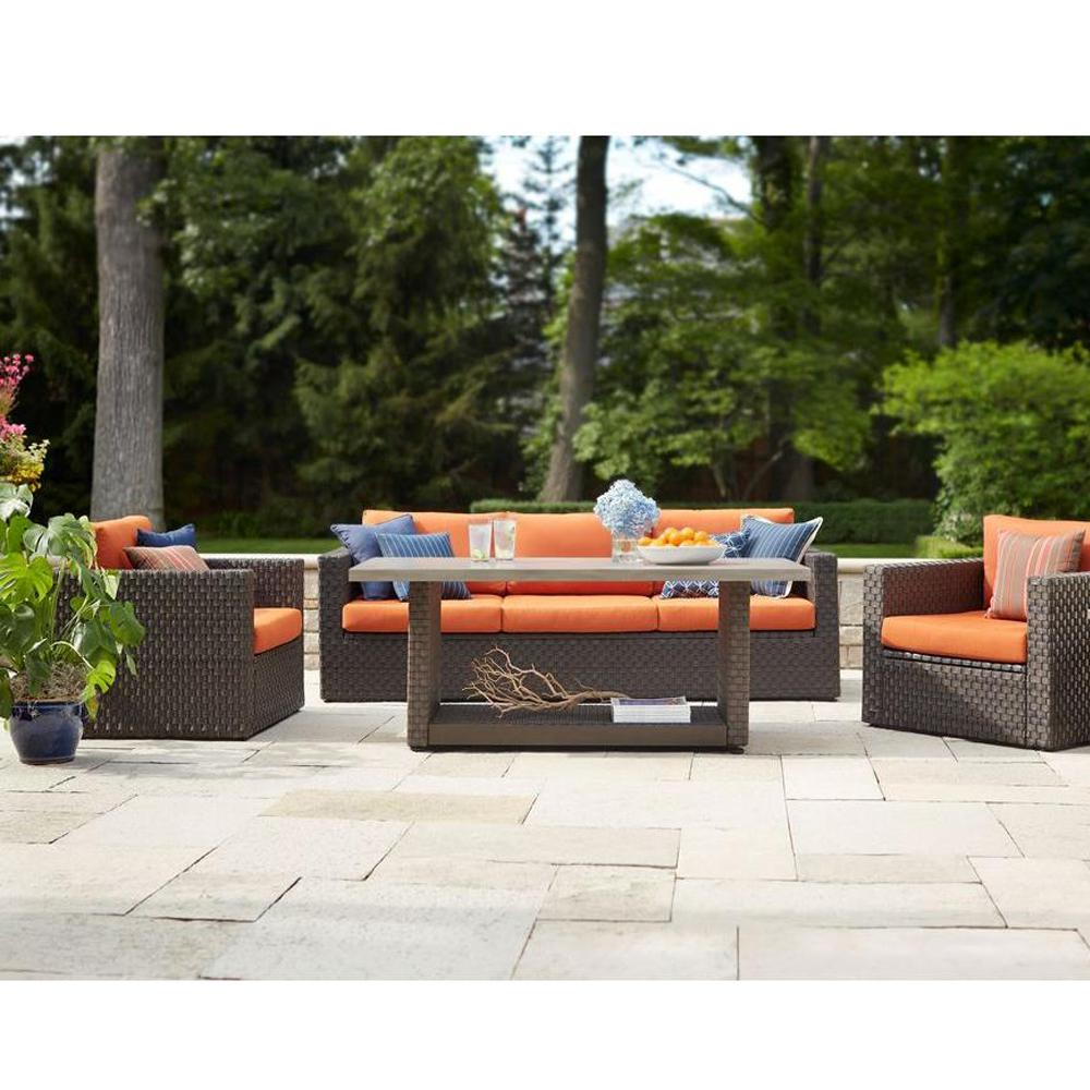 Hampton Bay Moreno Valley 4 Piece Brown Resin Wicker Patio Seating Set With  Sunbrella Canvas