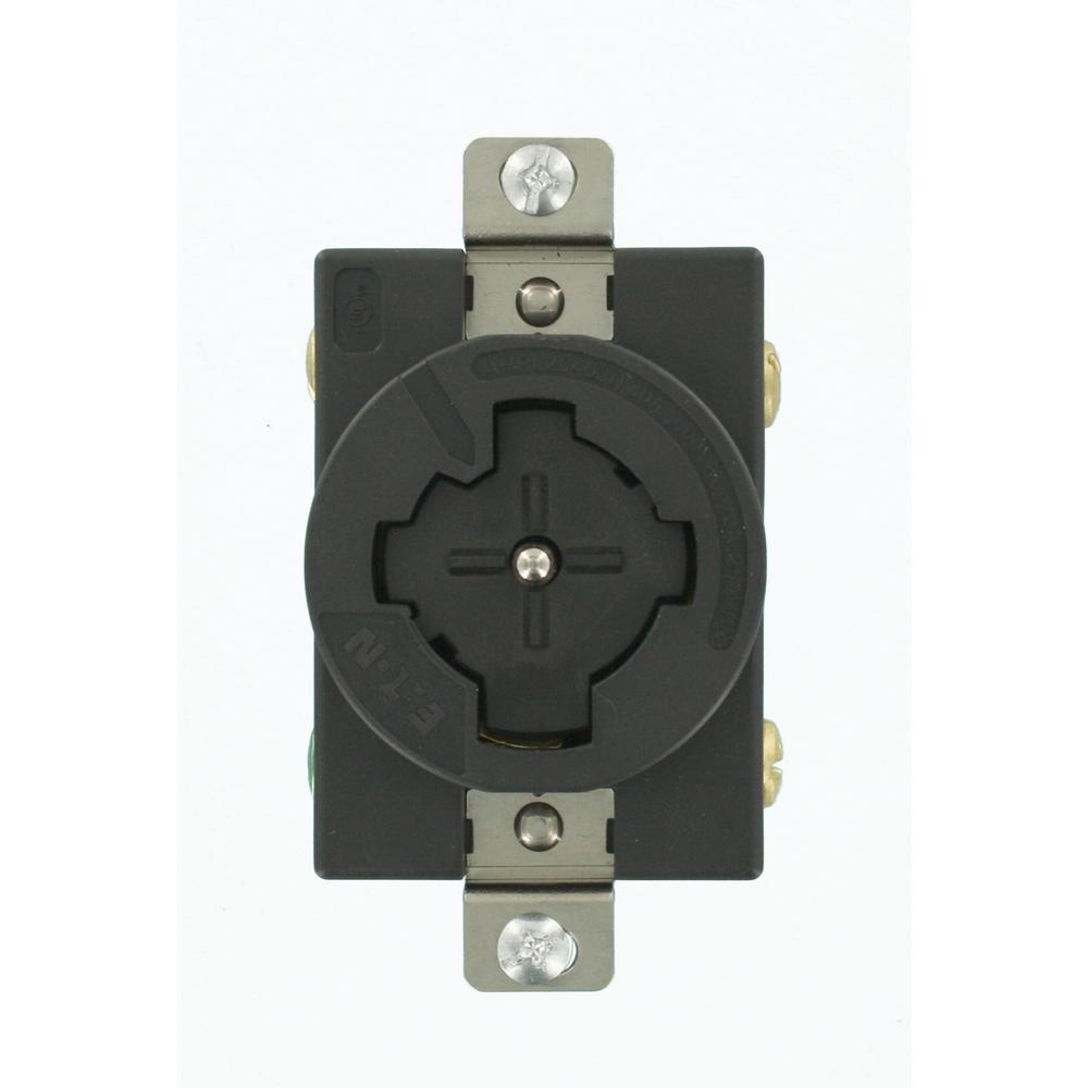 30 Amp 600 VAC/20 Amp 250-Volt DC Single Outlet, Black